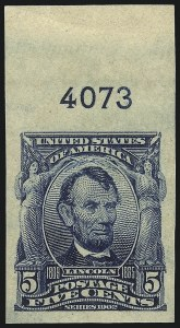 Sale Number 1068, Lot Number 231, 1902-08, Louisiana Purchase Issues5c Blue, Imperforate (315), 5c Blue, Imperforate (315)