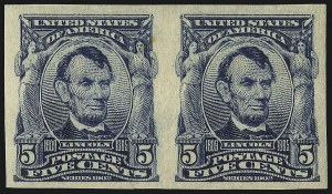 Sale Number 1068, Lot Number 232, 1902-08, Louisiana Purchase Issues5c Blue, Imperforate (315), 5c Blue, Imperforate (315)