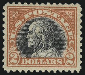 Sale Number 1068, Lot Number 305, Washington-Franklin Issues$2.00 Orange Red & Black (523), $2.00 Orange Red & Black (523)