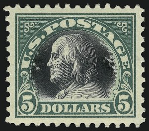 Sale Number 1068, Lot Number 307, Washington-Franklin Issues$5.00 Deep Green & Black (524), $5.00 Deep Green & Black (524)