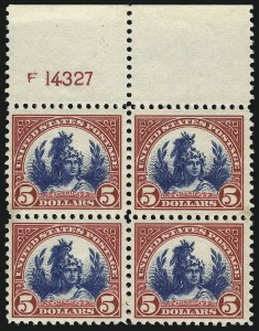 Sale Number 1068, Lot Number 321, 1922-26 and Later Issues$5.00 Carmine & Blue (573), $5.00 Carmine & Blue (573)