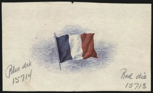 Sale Number 1068, Lot Number 334, 1922-26 and Later IssuesOverrun Country Issue, 1943, Red, White and Blue Engraved French Flag Die Proof, Overrun Country Issue, 1943, Red, White and Blue Engraved French Flag Die Proof