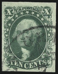 Sale Number 1068, Lot Number 36, 1851 Issue10c Green, Ty. III (15), 10c Green, Ty. III (15)