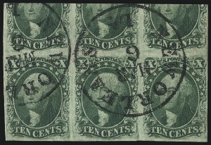 Sale Number 1068, Lot Number 38, 1851 Issue10c Green, Ty. III-IV-III (15-16-15), 10c Green, Ty. III-IV-III (15-16-15)