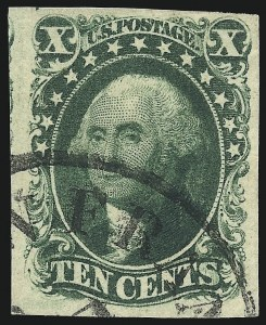 Sale Number 1068, Lot Number 40, 1851 Issue10c Green, Ty. IV (16), 10c Green, Ty. IV (16)