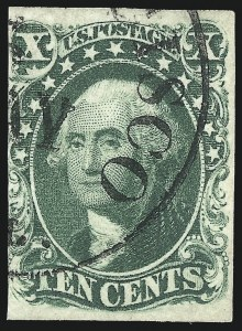 Sale Number 1068, Lot Number 41, 1851 Issue10c Green, Ty. IV (16), 10c Green, Ty. IV (16)