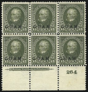 Sale Number 1068, Lot Number 719, U.S. Possessions: DWI thru GuamGUAM, 1899, 15c Olive Green (10), GUAM, 1899, 15c Olive Green (10)