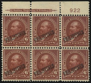 Sale Number 1068, Lot Number 735, U.S. Possessions: Philippines, thru 1926PHILIPPINES, 1901, 6c Lake (221), PHILIPPINES, 1901, 6c Lake (221)