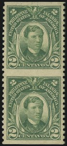 Sale Number 1068, Lot Number 765, U.S. Possessions: Philippines, thru 1926PHILIPPINES, 1917, 2c Yellow Green, Vertical Pair, Imperforate Horizontally (290b), PHILIPPINES, 1917, 2c Yellow Green, Vertical Pair, Imperforate Horizontally (290b)
