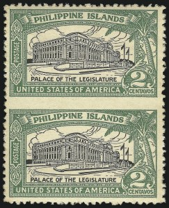 Sale Number 1068, Lot Number 768, U.S. Possessions: Philippines, thru 1926PHILIPPINES, 1926, 2c Green & Black, Vertical Pair, Imperforate Between (319b), PHILIPPINES, 1926, 2c Green & Black, Vertical Pair, Imperforate Between (319b)
