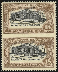 Sale Number 1068, Lot Number 772, U.S. Possessions: Philippines, thru 1926PHILIPPINES, 1926, 18c Light Brown & Black, Vertical Pair, Imperforate Between (322b), PHILIPPINES, 1926, 18c Light Brown & Black, Vertical Pair, Imperforate Between (322b)