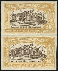 Sale Number 1068, Lot Number 773, U.S. Possessions: Philippines, thru 1926PHILIPPINES, 1926, 20c Orange & Brown, Imperforate Pair (323c), PHILIPPINES, 1926, 20c Orange & Brown, Imperforate Pair (323c)