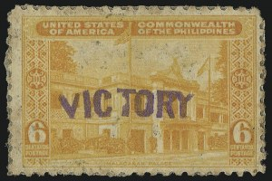 "Sale Number 1068, Lot Number 791, U.S. Possessions: Philippines, 1934-43PHILIPPINES, 1944, 6c Orange, ""Victory"" Ovpt. (470), PHILIPPINES, 1944, 6c Orange, ""Victory"" Ovpt. (470)"