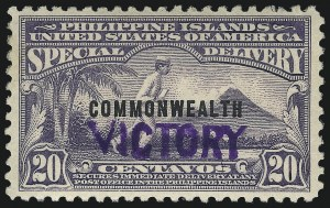 "Sale Number 1068, Lot Number 809, U.S. Possessions: Philippines, Back-of-Book and Group LotsPHILIPPINES, 1944, 20c Blue Violet, Special Delivery, ""Victory"" Ovpt. (E9), PHILIPPINES, 1944, 20c Blue Violet, Special Delivery, ""Victory"" Ovpt. (E9)"