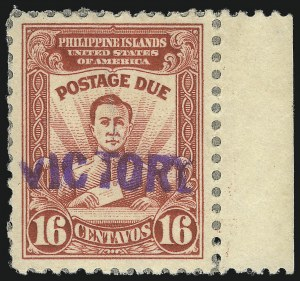 "Sale Number 1068, Lot Number 814, U.S. Possessions: Philippines, Back-of-Book and Group LotsPHILIPPINES, 1944, 4c-20c Postage Due, ""Victory"" Ovpts. (J16-J22), PHILIPPINES, 1944, 4c-20c Postage Due, ""Victory"" Ovpts. (J16-J22)"