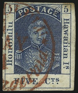 Sale Number 1068, Lot Number 879, Hawaii: Stampless thru 1868 Kamehameha III IssuesHAWAII, 1853, 5c Blue, Thick White Wove (5), HAWAII, 1853, 5c Blue, Thick White Wove (5)