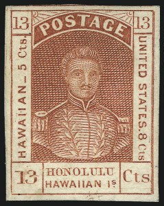 Sale Number 1068, Lot Number 880, Hawaii: Stampless thru 1868 Kamehameha III IssuesHAWAII, 1853, 13c Dark Red, Thick White Wove (6), HAWAII, 1853, 13c Dark Red, Thick White Wove (6)