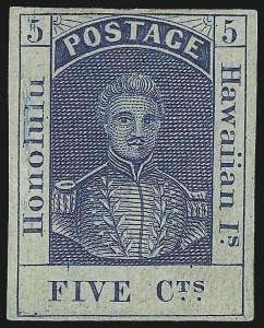 Sale Number 1068, Lot Number 881, Hawaii: Stampless thru 1868 Kamehameha III IssuesHAWAII, 1857, 5c Blue, Thin White Wove (8), HAWAII, 1857, 5c Blue, Thin White Wove (8)