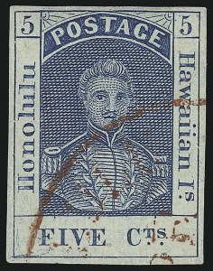 Sale Number 1068, Lot Number 882, Hawaii: Stampless thru 1868 Kamehameha III IssuesHAWAII, 1857, 5c Blue, Thin White Wove (8), HAWAII, 1857, 5c Blue, Thin White Wove (8)