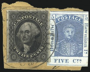 Sale Number 1068, Lot Number 883, Hawaii: Stampless thru 1868 Kamehameha III IssuesHAWAII, 1857, 5c Blue, Thin White Wove (8), HAWAII, 1857, 5c Blue, Thin White Wove (8)