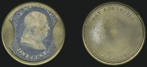Sale Number 1068, Lot Number 93, Civil War Encased PostageJ. Gault, 1c Blue (EP93), J. Gault, 1c Blue (EP93)
