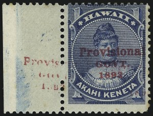 Sale Number 1068, Lot Number 979, Hawaii: 1893 Provisional Ovpts.HAWAII, 1893, 1c Blue, Red Ovpt., Category III Double Overprint (54f), HAWAII, 1893, 1c Blue, Red Ovpt., Category III Double Overprint (54f)