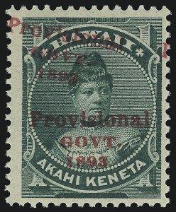 Sale Number 1068, Lot Number 980, Hawaii: 1893 Provisional Ovpts.HAWAII, 1893, 1c Green, Red Ovpt., Category II Double Overprint (55d), HAWAII, 1893, 1c Green, Red Ovpt., Category II Double Overprint (55d)