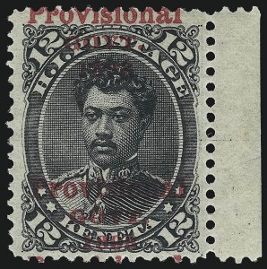 Sale Number 1068, Lot Number 982, Hawaii: 1893 Provisional Ovpts.HAWAII, 1893, 12c Black, Double Red Ovpt. (62d), HAWAII, 1893, 12c Black, Double Red Ovpt. (62d)