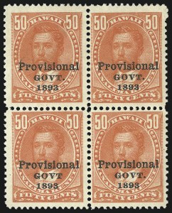 "Sale Number 1068, Lot Number 986, Hawaii: 1893 Provisional Ovpts.HAWAII, 1893, 50c Red, Black Ovpt., No Period After ""Govt"" (72b), HAWAII, 1893, 50c Red, Black Ovpt., No Period After ""Govt"" (72b)"