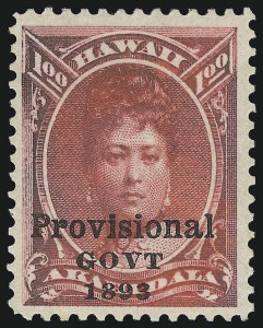 "Sale Number 1068, Lot Number 987, Hawaii: 1893 Provisional Ovpts.HAWAII, 1893, $1.00 Rose Red, Black Ovpt., No Period After ""Govt"" (73b), HAWAII, 1893, $1.00 Rose Red, Black Ovpt., No Period After ""Govt"" (73b)"