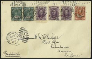 Sale Number 1068, Lot Number 988, Hawaii: 1893 Provisional Ovpts.HAWAII, 1893, 1c Purple, 1c Green, Red Ovpts. (53, 55), HAWAII, 1893, 1c Purple, 1c Green, Red Ovpts. (53, 55)