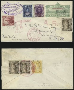 Sale Number 1068, Lot Number 989, Hawaii: 1893 Provisional Ovpts.HAWAII, 1893, 1c Purple, 1c Blue, Red Ovpt. (54, 55), HAWAII, 1893, 1c Purple, 1c Blue, Red Ovpt. (54, 55)