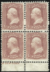 Sale Number 1068, Lot Number 99, 1861-68 Issues and 1875 Re-Issue3c Rose (65). Mint N.H, 3c Rose (65). Mint N.H