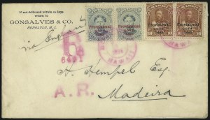 Sale Number 1068, Lot Number 997, Hawaii: 1893 Provisional Ovpts.HAWAII, 1893, 5c Ultramarine, Red Ovpt. (59), HAWAII, 1893, 5c Ultramarine, Red Ovpt. (59)