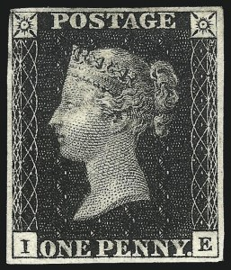 Sale Number 1070, Lot Number 2128, Great Britain, Imperforate Line EngravedGREAT BRITAIN, 1840, 1p Black (1; SG 2), GREAT BRITAIN, 1840, 1p Black (1; SG 2)