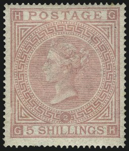 Sale Number 1070, Lot Number 2203, Great Britain, Surface-PrintedGREAT BRITAIN, 1867, 5sh Pale Rose (57a; SG 127), GREAT BRITAIN, 1867, 5sh Pale Rose (57a; SG 127)