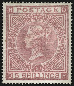 Sale Number 1070, Lot Number 2204, Great Britain, Surface-PrintedGREAT BRITAIN, 1867, 5sh Pale Rose (57a; SG 127), GREAT BRITAIN, 1867, 5sh Pale Rose (57a; SG 127)