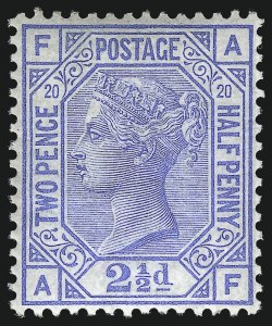 Sale Number 1070, Lot Number 2215, Great Britain, Surface-Printed (Continued...)GREAT BRITAIN, 1880, 2-1/2p Ultramarine (68; SG 142), GREAT BRITAIN, 1880, 2-1/2p Ultramarine (68; SG 142)