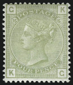 Sale Number 1070, Lot Number 2217, Great Britain, Surface-Printed (Continued...)GREAT BRITAIN, 1877, 4p Olive Green (70; SG 153), GREAT BRITAIN, 1877, 4p Olive Green (70; SG 153)