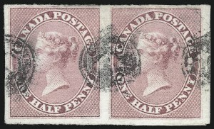 Sale Number 1070, Lot Number 2380, Canada thru Large Queens (Continued...)CANADA, 1857, -1/2p Rose (8; SG 17), CANADA, 1857, -1/2p Rose (8; SG 17)