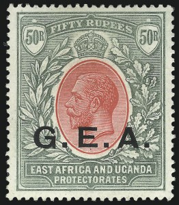 Sale Number 1070, Lot Number 2500, German East Africa thru Gold CoastGERMAN EAST AFRICA, 1917, 50r Gray Green & Red (N122; SG 62), GERMAN EAST AFRICA, 1917, 50r Gray Green & Red (N122; SG 62)