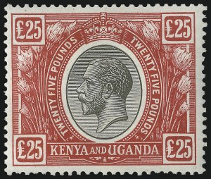 Sale Number 1070, Lot Number 2591, Kenya & Uganda thru Leeward IslandsKENYA AND UGANDA, 1922-27, £25 Red & Black (41C; SG 102), KENYA AND UGANDA, 1922-27, £25 Red & Black (41C; SG 102)