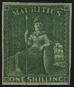 Sale Number 1070, Lot Number 2608, Malaya thru MontserratMAURITIUS, 1861, 1sh Green, Imperforate (21; SG 35), MAURITIUS, 1861, 1sh Green, Imperforate (21; SG 35)