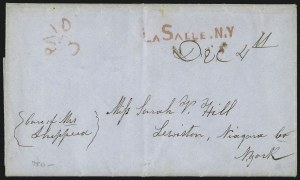 Sale Number 1071, Lot Number 4024, Stampless Covers: Calvet Hahn Collection, New York TownsLaSalle. N.Y. Dec. 4th, LaSalle. N.Y. Dec. 4th