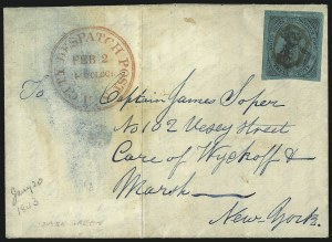 Sale Number 1071, Lot Number 4320, Carriers and LocalsU.S. City Despatch Post, New York N.Y., 3c Black on Green Glazed (6LB5d), U.S. City Despatch Post, New York N.Y., 3c Black on Green Glazed (6LB5d)
