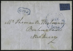 Sale Number 1071, Lot Number 4323, Carriers and LocalsU.S.P.O., Philadelphia Pa., 1c Black on Blue Glazed (7LB7), U.S.P.O., Philadelphia Pa., 1c Black on Blue Glazed (7LB7)