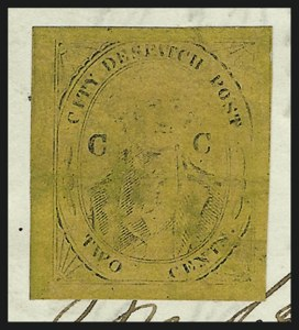 "Sale Number 1071, Lot Number 4352, Carriers and Locals, Cont., Sanitary Fair, Christmas Seals(Coles) City Despatch Post, New York N.Y., 2c Black on Yellowish Buff Glazed, ""CC"" at Sides (40L8), (Coles) City Despatch Post, New York N.Y., 2c Black on Yellowish Buff Glazed, ""CC"" at Sides (40L8)"