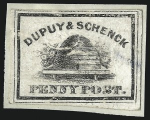 Sale Number 1071, Lot Number 4355, Carriers and Locals, Cont., Sanitary Fair, Christmas SealsDupuy & Schenck, New York N.Y., (1c) Black on Glazed and Gray (60L1-60L2), Dupuy & Schenck, New York N.Y., (1c) Black on Glazed and Gray (60L1-60L2)