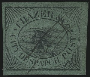 Sale Number 1071, Lot Number 4356, Carriers and Locals, Cont., Sanitary Fair, Christmas SealsFrazer & Co., Cincinnati O., 2c Black on Green (69L3), Frazer & Co., Cincinnati O., 2c Black on Green (69L3)