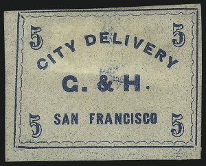 Sale Number 1071, Lot Number 4357, Carriers and Locals, Cont., Sanitary Fair, Christmas SealsGahagan & Howe City Express, San Francisco, 5c Light Blue (70L1), Gahagan & Howe City Express, San Francisco, 5c Light Blue (70L1)